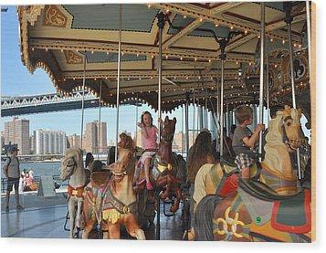 Carousel Brooklyn Bridge Park Wood Print