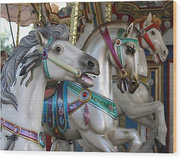 Carousel Wood Print by Donna Walsh
