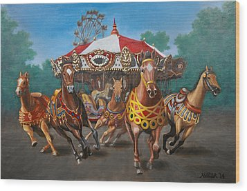 Carousel Escape At The Park Wood Print