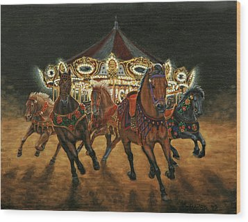 Carousel Escape At Night Wood Print by Jason Marsh