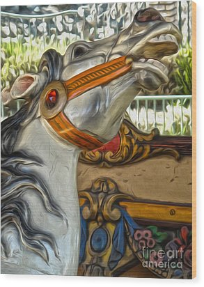 Carousel Horse - 01 Wood Print by Gregory Dyer