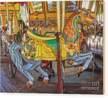Carousel Horse - 03 Wood Print by Gregory Dyer