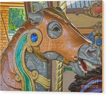 Carousel Horse - 04 Wood Print by Gregory Dyer