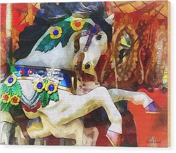 Carousel Horse Closeup Wood Print by Susan Savad