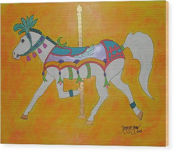 Carousel Horse   Wood Print by Theresa Shaw