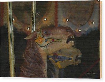 Carousel Horses Painterly Wood Print by Ernie Echols