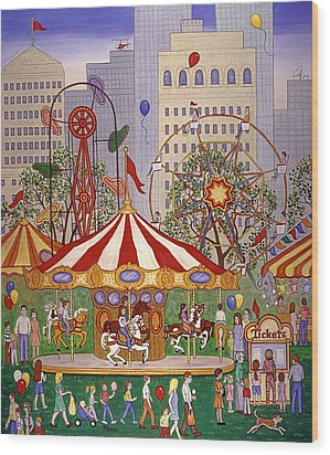 Carousel In City Park Wood Print by Linda Mears