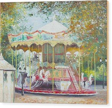 Carousel In Montmartre Paris Wood Print by Jan Matson
