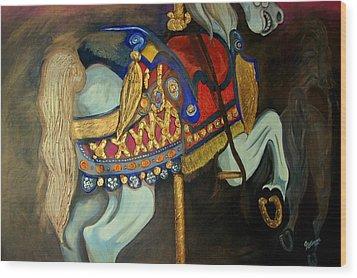 Carousel Wood Print by John Stevens