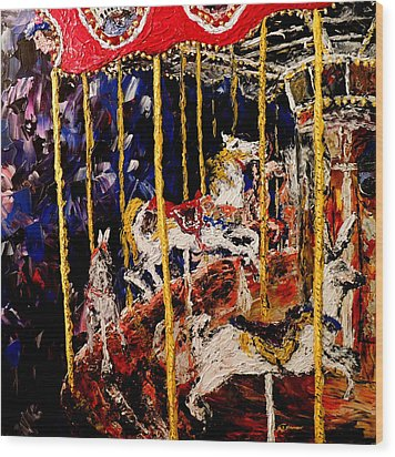 Carousel  Main Attraction  Wood Print by Mark Moore