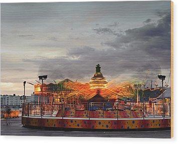 Carousel Wood Print by Matthew Gibson