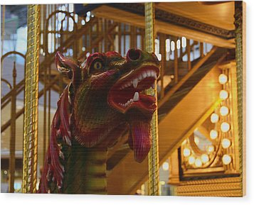 Wood Print featuring the photograph Vintage Carousel Red Dragon - 2 by Renee Anderson