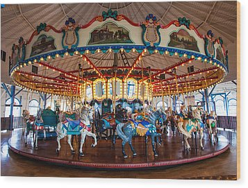 Wood Print featuring the photograph Carousel Ride by Jerry Cowart