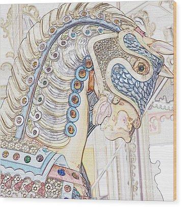 Carousel Stallion Wood Print
