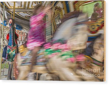 Carousel Wood Print by Susan Cole Kelly Impressions
