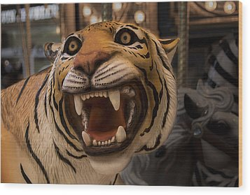 Wood Print featuring the photograph Vintage Carousel Tiger - 1 by Renee Anderson