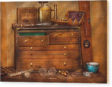 Carpentry - Tools - In My Younger Days  Wood Print by Mike Savad
