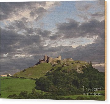 Carreg Cennen Castle North Face Wood Print by Anthony Forster
