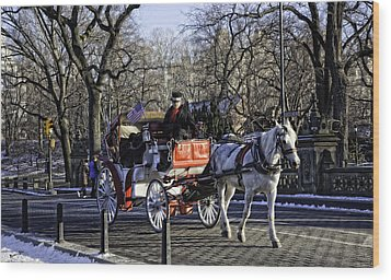 Carriage Driver - Central Park - Nyc Wood Print by Madeline Ellis