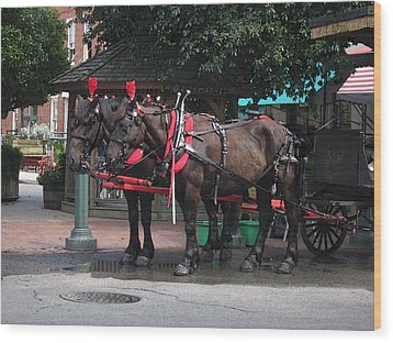 Carriage Horses At City Market Wood Print by Linda Ryan