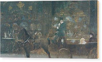 Carriage Ride Wood Print by Giuseppe De Nittis