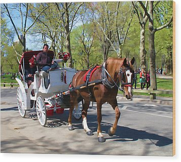 Carriage Ride In Central Park Wood Print by Eleanor Abramson