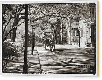 Carriage Ride In Charleston Wood Print by John Rizzuto