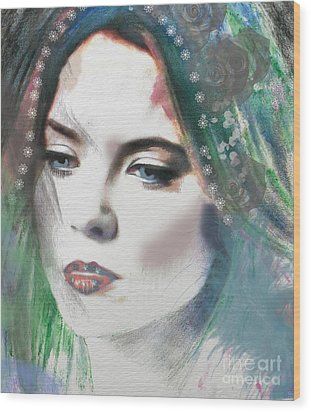 Carrie Under Veil Wood Print by Kim Prowse