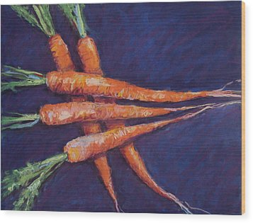 Carrot Stack Wood Print by Kelley Smith