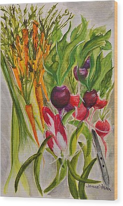 Carrots And Radishes Wood Print by Jamie Frier