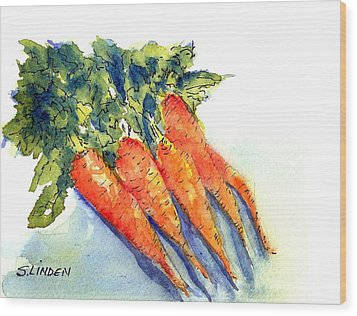Wood Print featuring the painting Carrots by Sandy Linden