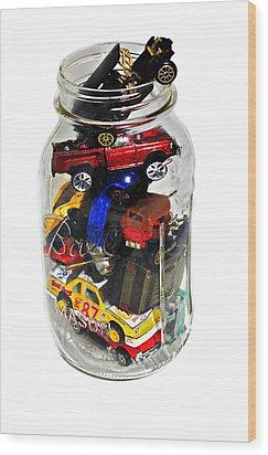 Cars In A Jar Wood Print by Susan Leggett