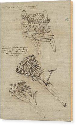 Cart And Weapons From Atlantic Codex Wood Print by Leonardo Da Vinci
