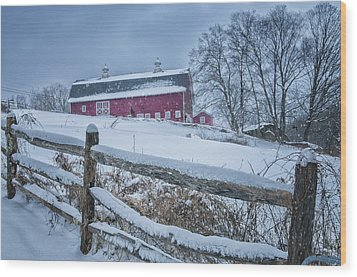 Carter Farm - Litchfield Hills Winter Scene Wood Print by Expressive Landscapes Fine Art Photography by Thom