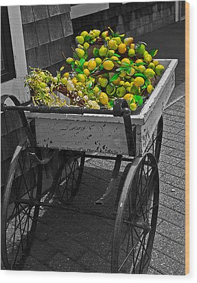 Cartful Of Lemons And Apples Wood Print
