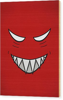 Cartoon Grinning Face With Evil Eyes Wood Print