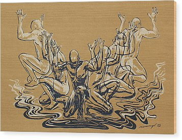 Carved Men Wood Print by Maria Arango Diener