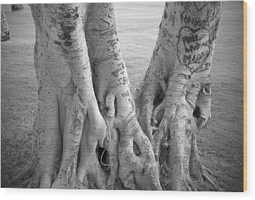 Carved Roots Wood Print by Chris Ann Wiggins