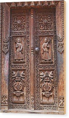 Carved Wooden Door At Bhaktapur In Nepal Wood Print by Robert Preston
