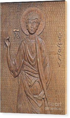 Carved Wooden Door At The Tsminda Sameba Cathedral Tbilisi Wood Print by Robert Preston