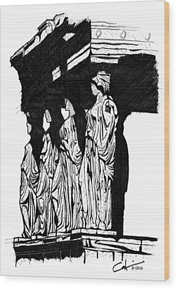 Caryatids In High Contrast Wood Print