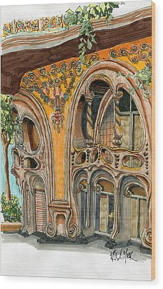Casa Comolat Barcelona Spain Wood Print by Paul Guyer