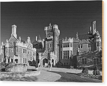 Casa Loma In Toronto In Black And White Wood Print by Les Palenik