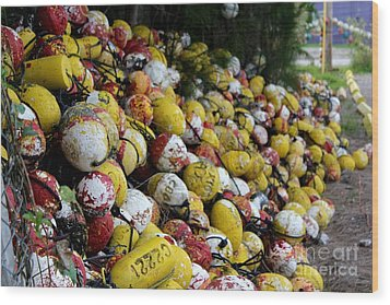 Cascade Of Buoys Wood Print by Theresa Willingham