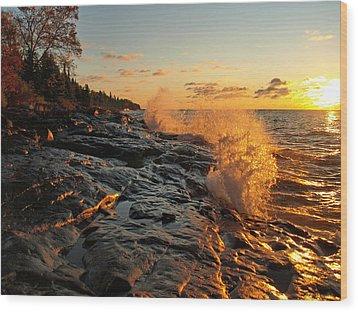 Cascade Sunrise Wood Print by Melissa Peterson