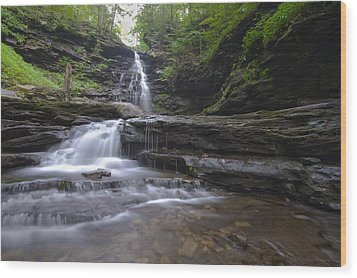 Cascading Falls Wood Print by Phil Abrams