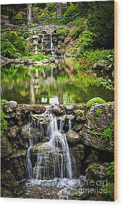 Cascading Waterfall And Pond Wood Print by Elena Elisseeva