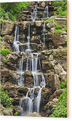 Cascading Waterfall Wood Print by Elena Elisseeva