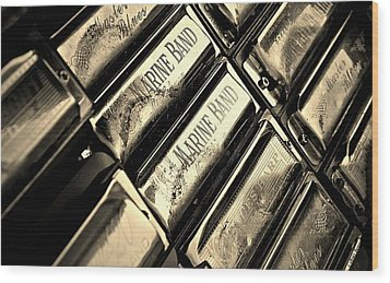 Case Of Harmonicas  Wood Print by Chris Berry