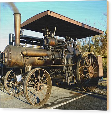 Case Steam Tractor Wood Print by Pete Trenholm